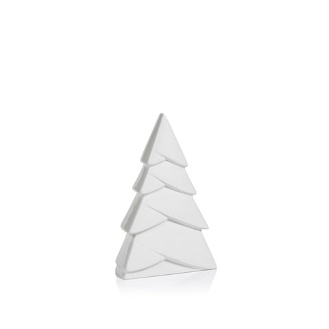 """8"""" Tall Ceramic Christmas Tree Tabletop Decoration, White (Set of 6) - N/A"""