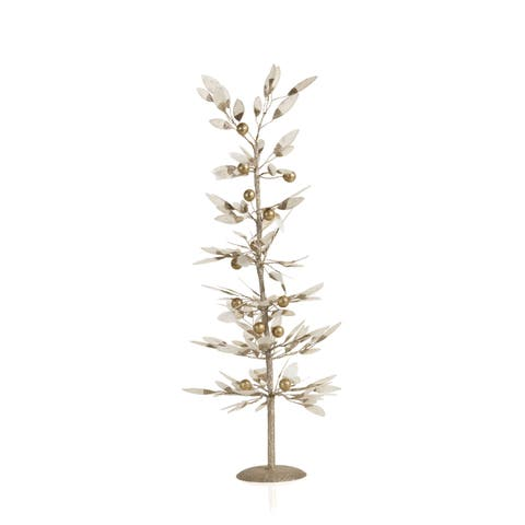 """26.5"""" Tall Capiz Leaf Christmas Tree, Large Tabletop Decor, Gold and Ivory"""