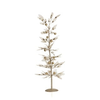 "26.5"" Tall Capiz Leaf Christmas Tree, Large Tabletop Decor, Gold and Ivory"