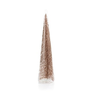 "15.5"" Tall Clear Glass Christmas Tree, X-Large Tabletop Decoration, Champagne Glitter (Set of 2) - N/A"