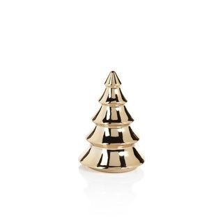 """5.5"""" Tall Ceramic Gold Metallic Tabletop Christmas Trees, Gold (Set of 4) - N/A"""