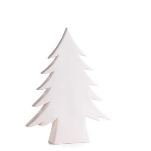 "16.5"" Tall ""Teton"" Ceramic Christmas Tree Tabletop Decoration, White"