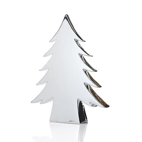 "16.5"" Tall ""Teton"" Ceramic Christmas Tree Tabletop Decoration, Silver"