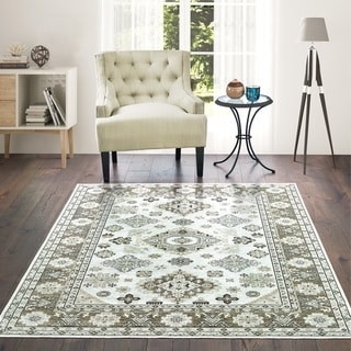 Westfield Home Lelaliah Remiel Cream Faux Silk Area Rug - 10' x 14'