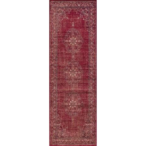 Westfield Home Lelaliah Agla Red Faux Silk Runner Rug - 2'7 x 8'2