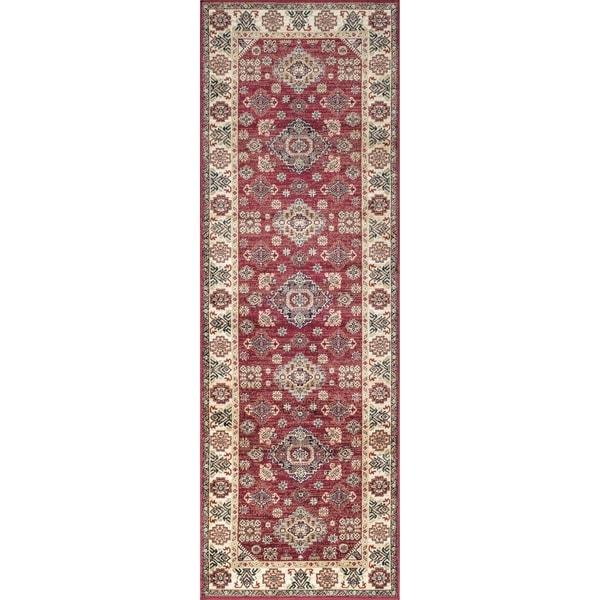 Westfield Home Lelaliah Remiel Red Faux Silk Runner Rug - 2'7 x 8'2