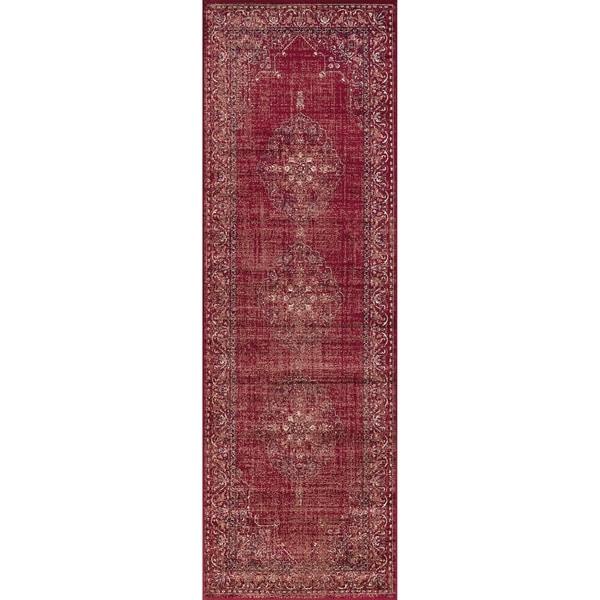 Westfield Home Lelaliah Agla Red Faux Silk Runner Rug - 3' x 14'
