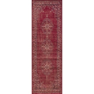 Westfield Home Lelaliah Agla Red Faux Silk Runner Rug - 3' x 20'