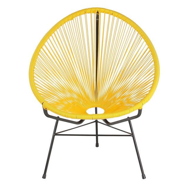 Acapulco Papasan Basket Lounge Chair, Yellow