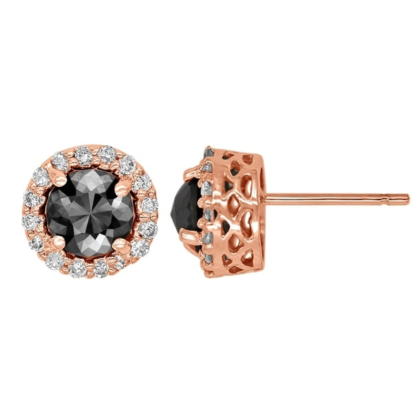06a4d0083 Shop 14k Rose Gold Black and White Diamond 2.05ct total Weight Round Stud  Earrings - Free Shipping Today - Overstock - 23106204
