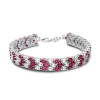 Ruby and White Sapphire Lab Created Bracelet Sterling Silver