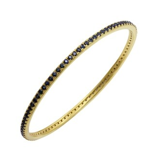 Stackable Bracelet for Women Blue Sapphire 14k Yellow Gold Plated