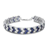 Tennis Bracelet in Sterling Silver with Lab Created  Sapphire and white Sapphire