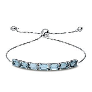 Sterling Silver 6X4mm Genuine Created or Simulated Octo Shape Chain Adjustable Pull-String Bolo Slider Tennis Bracelet