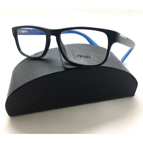 80d1057d8d7b Shop Prada Matte Black Blue vpr 07p 1bo-1o1 eyeglasses frames 54-17 ...