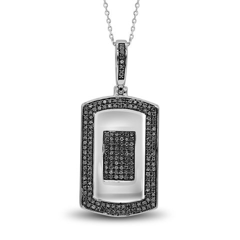 Sterling Silver Men's Dog Tag Pendant with 1/2 CTW Diamonds Necklace