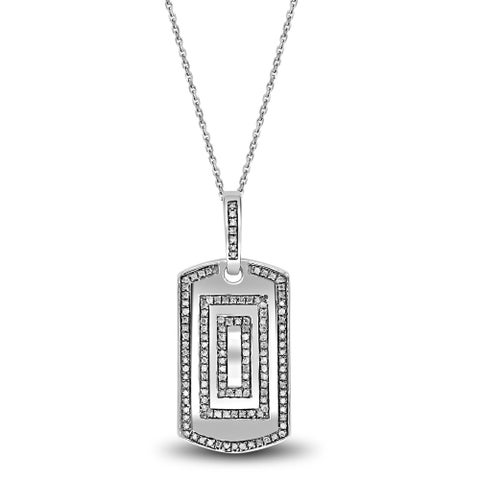 Sterling Silver Men's Dog Tag Pendant with Diamonds Necklace