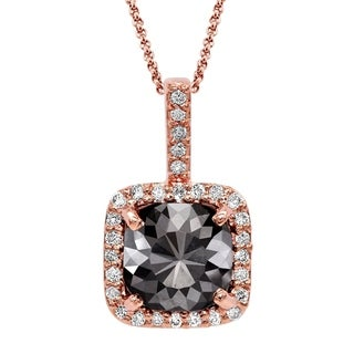 Black Diamond Pendant with White Diamond Halo, 14k Rose Gold 2.20 ct total Weight