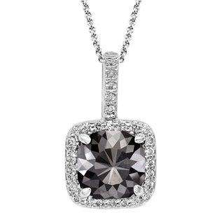 Black Diamond Pendant with White Diamond Halo, 14k White Gold 2.60 ct total Weight