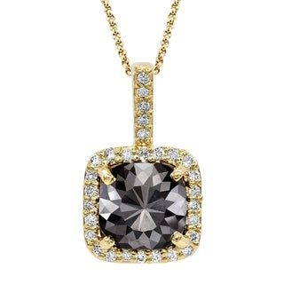 Black Diamond Pendant with White Diamond Halo, 14k Yellow Gold 3.60 ct total Weight
