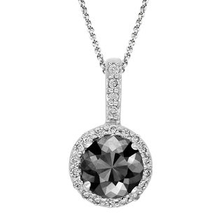 Black Diamond Pendant with White Diamond Halo, 14k White Gold 2.75 ct total Weight