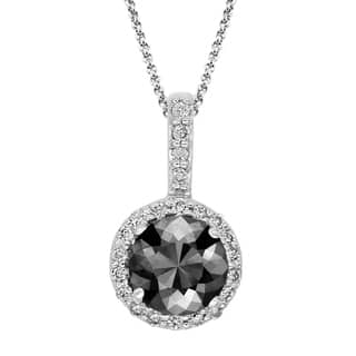 Buy 25 to 3 carats diamond necklaces online at overstock our black diamond pendant with white diamond halo 14k white gold 275 ct total weight aloadofball Image collections