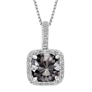 Black Diamond Pendant with White Diamond Halo, 14k White Gold 3.72 ct total Weight