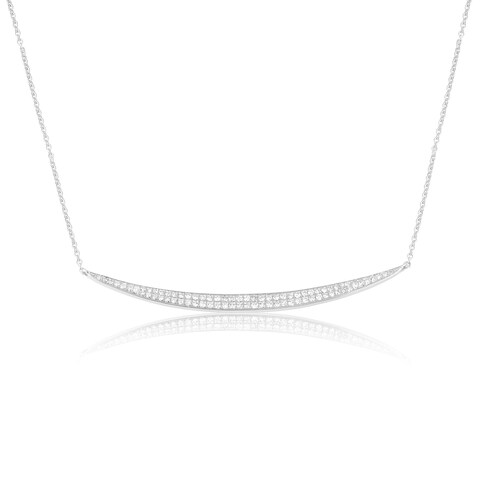 14K Diamond-adorned Gold Curved Bar Fashion Necklace