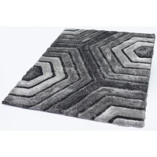 Colibri Shaggy 3D Gray/Black Area rug - 5' x 7'