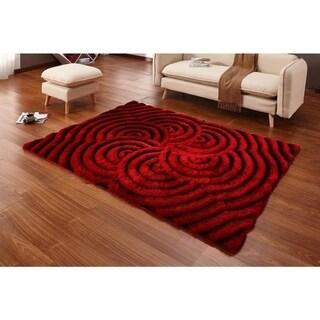 Colibri Shaggy 3D Red/Black Area rug - 5' x 7'