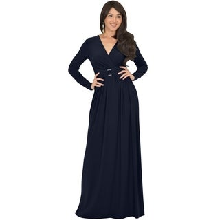 KOH KOH Womens Belted Flowy Long Semi Formal Sleeve Stylish Maxi Dress