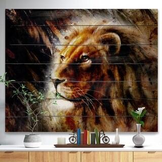Designart 'Majestically Peaceful Lion' Animal Art Print on Natural Pine Wood - Brown