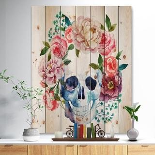 Designart 'Skull Bouquet Vector Art' Contemporary Print on Natural Pine Wood - Pink