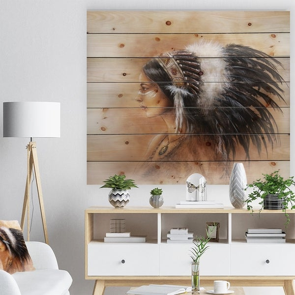 Designart 'Indian Woman in Traditional Clothing' Indian Print on Natural Pine Wood - Brown