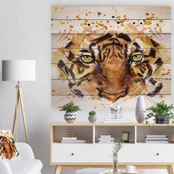 Designart 'Eyes with Fire' Animal Art Print on Natural Pine Wood - Brown