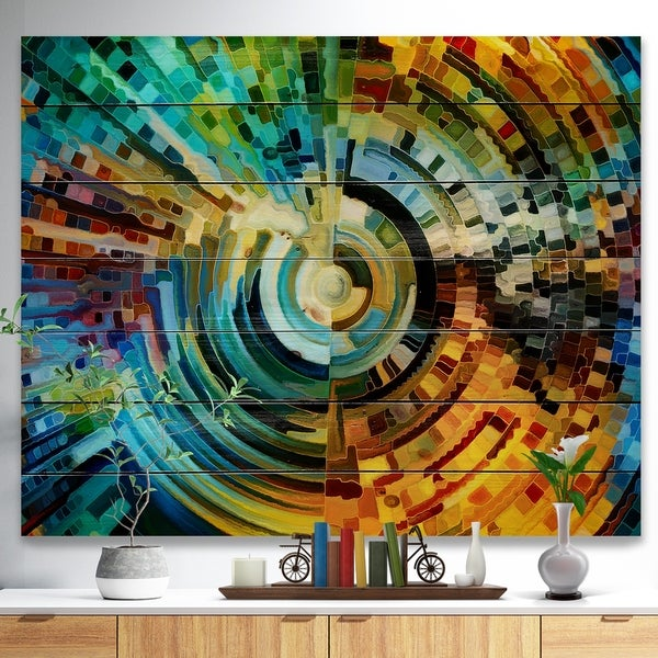 Designart 'Paths of Stained Glass' Abstract Print on Natural Pine Wood - Blue