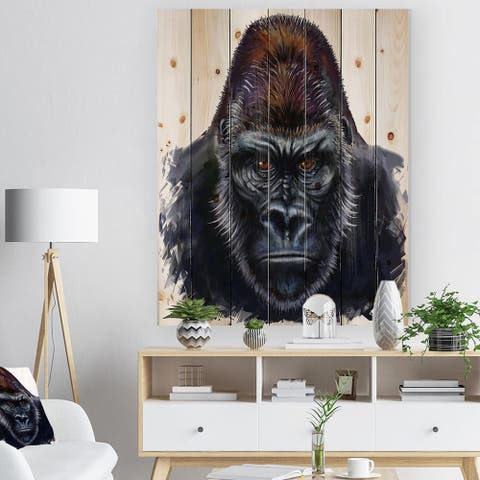 Designart 'Gorilla Male Illustration' Animal Art Print on Natural Pine Wood - Blue