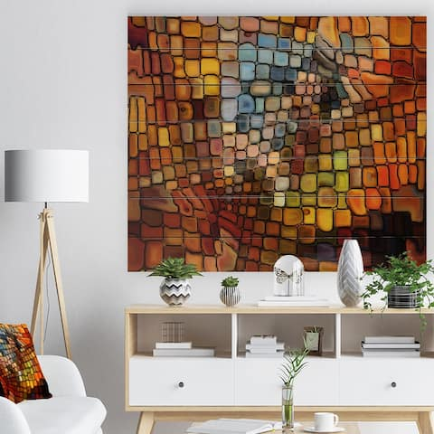 Designart 'Dreaming of Stained Glass' Abstract Print on Natural Pine Wood - Red