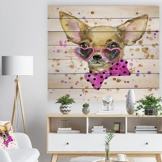 Designart 'Puppy Dog in Watercolor' Animal Art Print on Natural Pine Wood - Brown