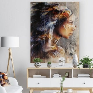 Designart 'Woman with White Horse Eagles' Indian Print on Natural Pine Wood - Brown