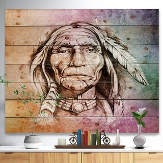Designart 'American Indian Head' Portrait Print on Natural Pine Wood - Purple