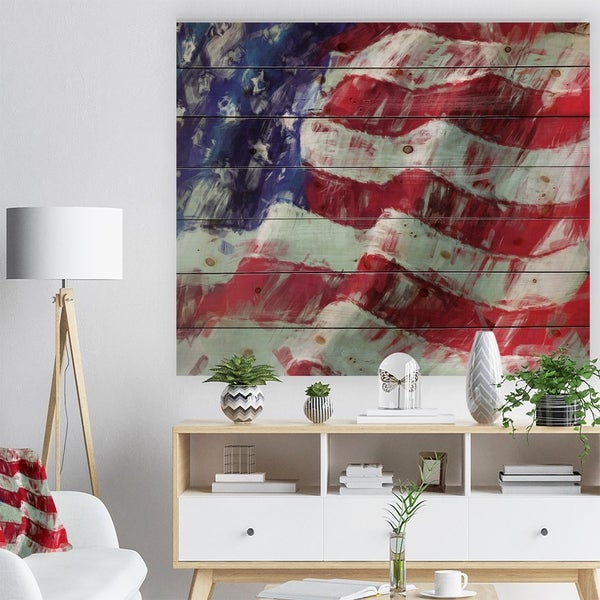 Designart 'USA Flag Abstract Art' Map & Flag Print on Natural Pine Wood - Red