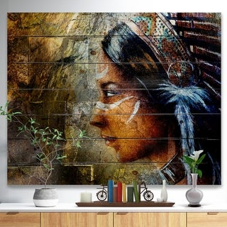 Designart 'Indian Woman with Headdress' Portrait Print on Natural Pine Wood - Brown