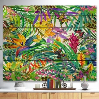 Designart 'Tropical Leaves and Flowers' Floral Art Print on Natural Pine Wood - Green