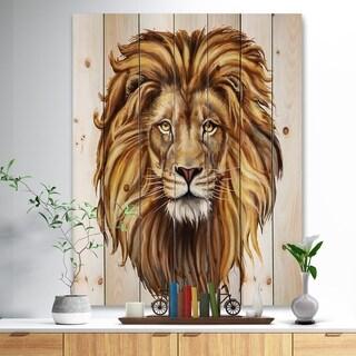 Designart 'King Lion Aslan' Animal Art Print on Natural Pine Wood - Brown