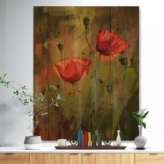 Designart 'Watercolor Poppy Flowers' Floral Art Print on Natural Pine Wood - Red