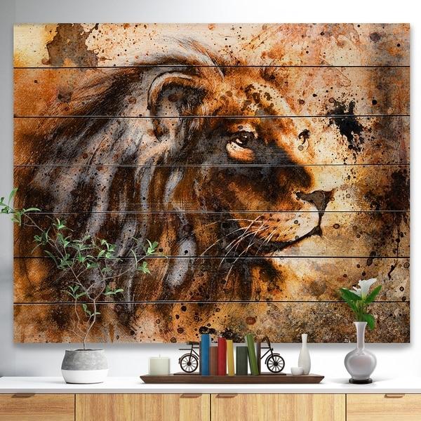Designart 'Lion Collage' Animal Art Print on Natural Pine Wood - Brown