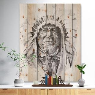 Designart 'Native American Indian' Bohemian Print on Natural Pine Wood - Black