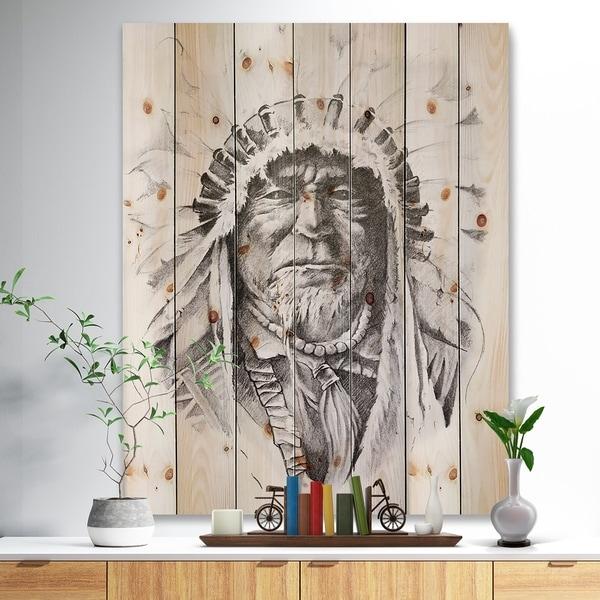 Designart X27 Native American Indian Bohemian Print On Natural Pine