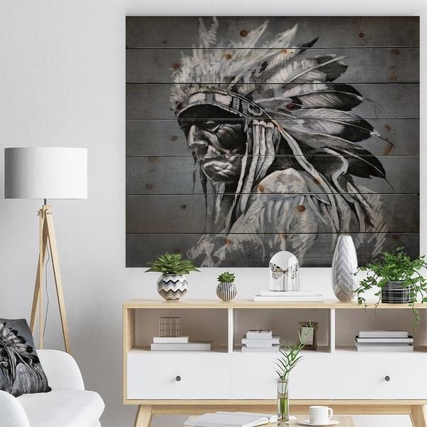 Designart 'American Indian Tattoo Art' Bohemian Print on Natural Pine Wood - Black